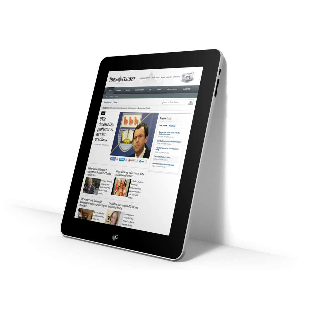 Times Colonist Responsive Implementation for tablet devices