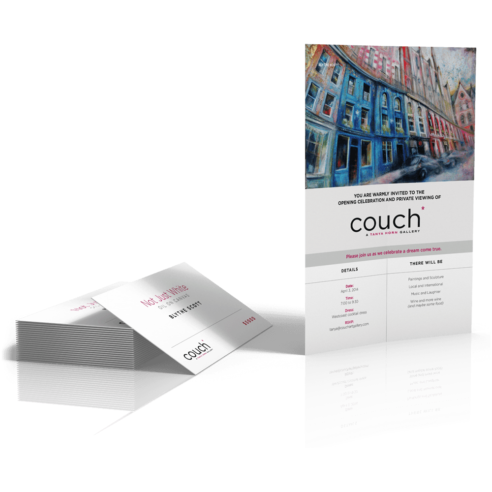 couch* invitation and price cards